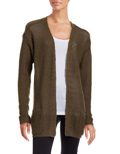 B. Young Manus Open Front Cardigan-GREEN-X-Small