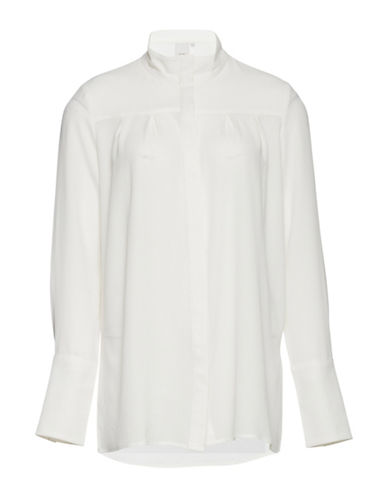 Ichi Cabina Pleated Shirt-WHITE-34