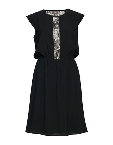 Ichi Cabina Lace Insert Shirt Dress-BLACK-34
