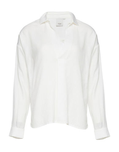 Ichi Solid Hi-Lo Blouse-WHITE-Small