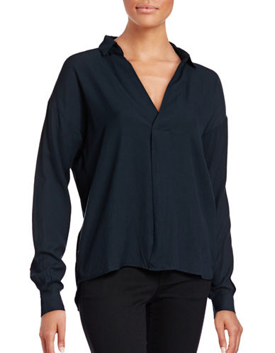 Ichi Solid Hi-Lo Blouse-BLUE-Large