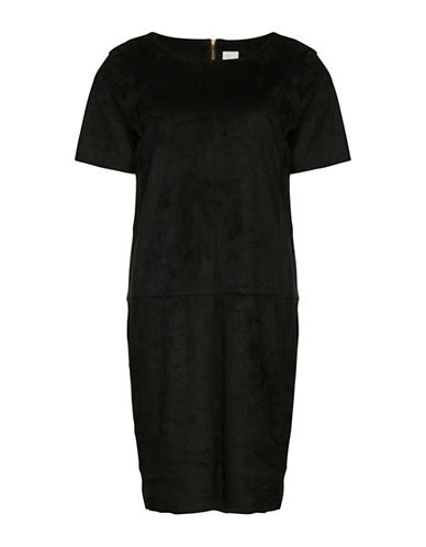 Ichi Bival Faux Suede Shift Dress-BLACK-36