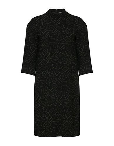 Ichi Enova Printed Three-Fourth Sleeve Dress-BLUE-Small