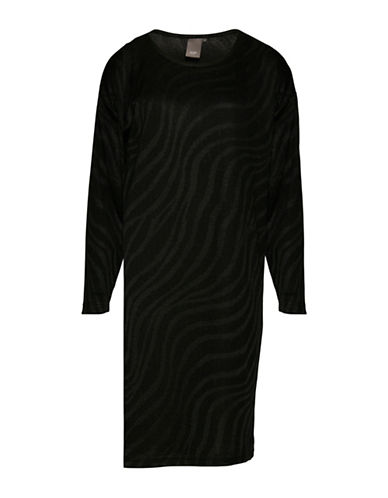 Ichi Norr Zebra Stripe Dress-BLACK-Large