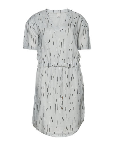Ichi Azmar V-Neck Dress-GREY-X-Small