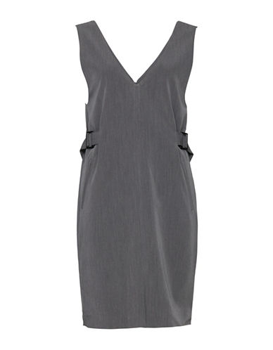Ichi Fulvio A-Line Buckle Dress-GREY-X-Small