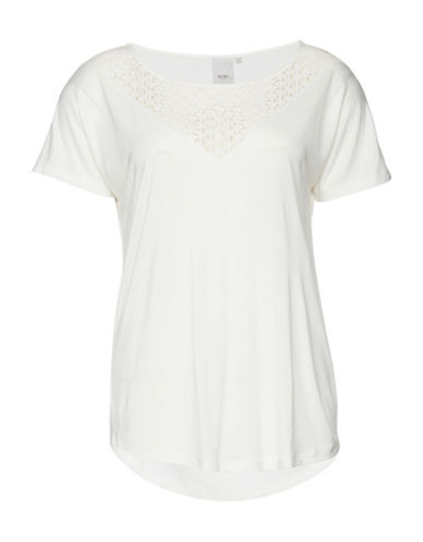 Ichi Lace Panel T-Shirt-NATURAL-Large