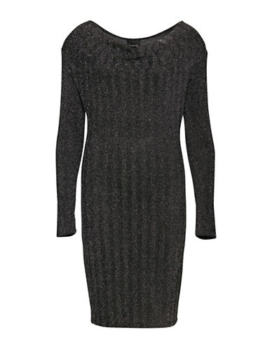 B. Young Seqir Sparkle Jersey Dress-SILVER-X-Large