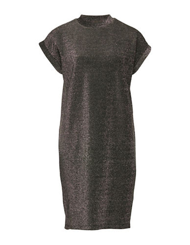 Ichi Karma Metallic Dress-SILVER-X-Small