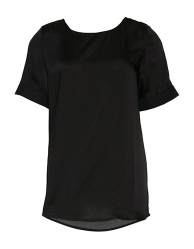 Ichi Comon Satin Top-BLACK-Small