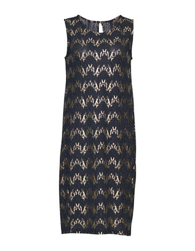 Ichi Kiwi Metallic Chevron Shift Dress-BLUE-Small