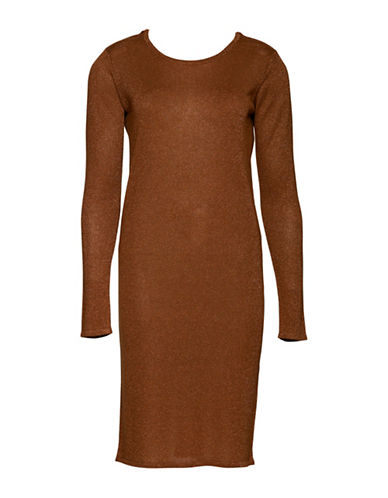 Ichi Otilia Long-Sleeved Dress-ORANGE-X-Small