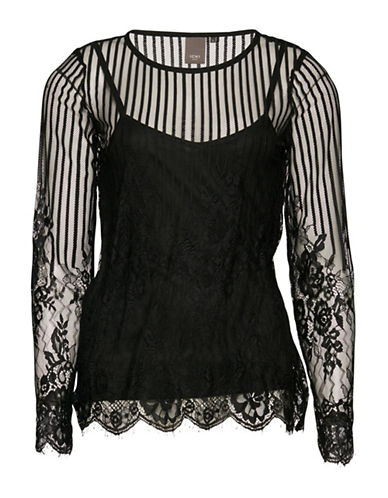 Ichi Cemona Long Sleeve Blouse-BLACK-Medium
