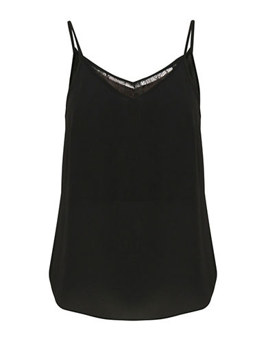 Ichi Tucca Lace Tank Top-BLACK-40