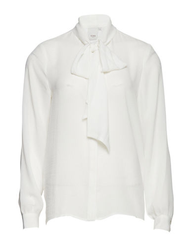 Ichi Claire Tie-Neck Shirt-WHITE-Small