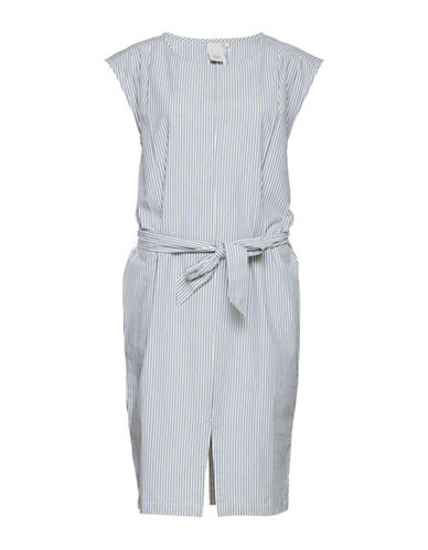 Ichi Dido Stripe Dress with Belt-BLUE-Small