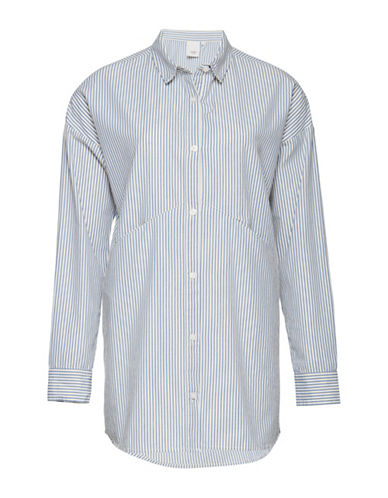 Ichi Dido Stripe Long Sleeve Shirt-BLUE-X-Small