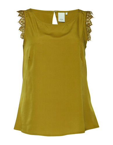 Ichi Binoli Lace Trim Back Cut-Out Top-GREEN-Medium