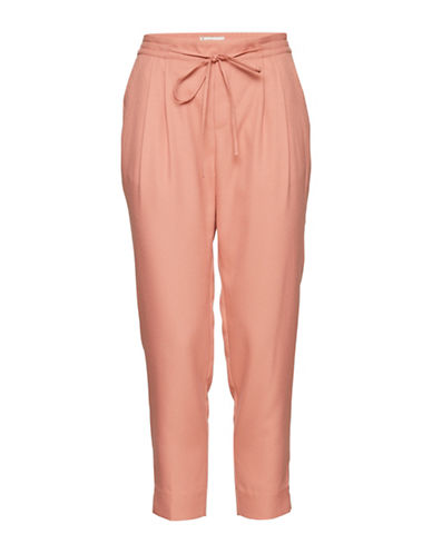 Ichi Canori Cropped Pants with Skinny Bow-PINK-Small