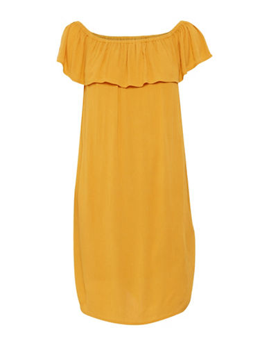 Ichi Marrakech Ruffle Dress-GOLD-X-Small