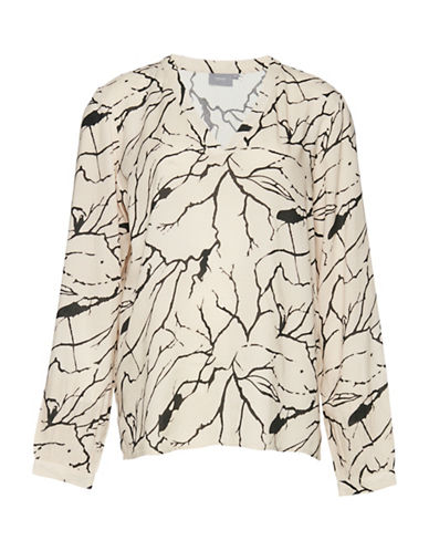 B. Young Geha Printed V-Neck Blouse-NATURAL-34
