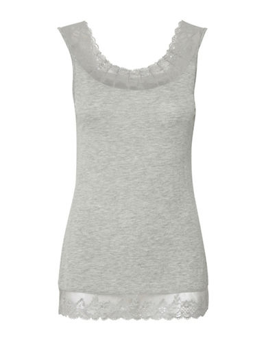 Cream Florence Lace Trimmed Cami-GREY-Small