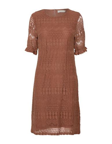 Cream Melissa Crochet-Trim Dress-BROWN-X-Small