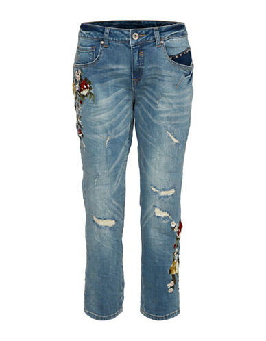 Cream Flower Relax Jeans-BLUE-25