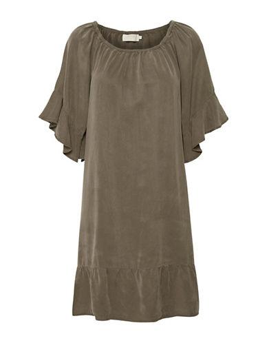 Cream Ivanna Shift Dress-GREEN-40