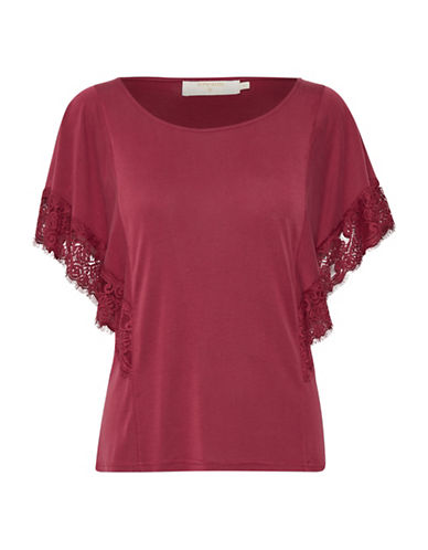Cream Miranda Blouse-RED-Medium