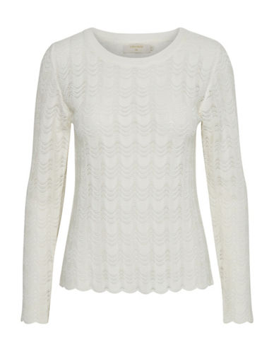 Cream Mary Pullover Top-WHITE-Medium