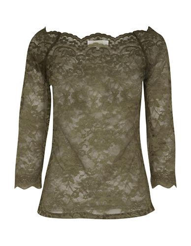 Cream Lilliana Three-Quarter Sleeve Blouse-GREEN-Medium