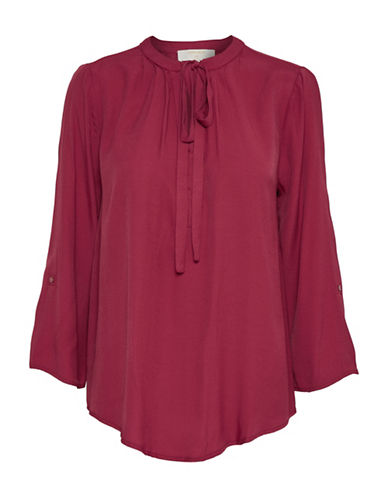 Cream Vera Pleated Blouse-RED-36