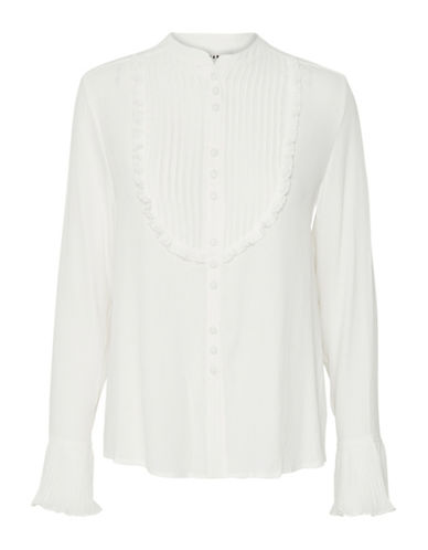Karen By Simonsen Rumour Pleated Bib Blouse-SNOW WHITE-40