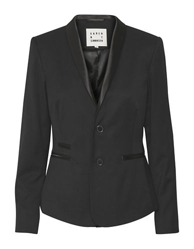 Karen By Simonsen Raffle Wool-Blend Blazer-BLACK-44