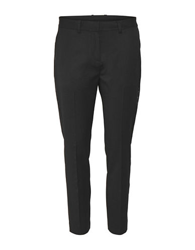 Karen By Simonsen Raffle Wool-Blend Cigarette Pants-BLACK-38