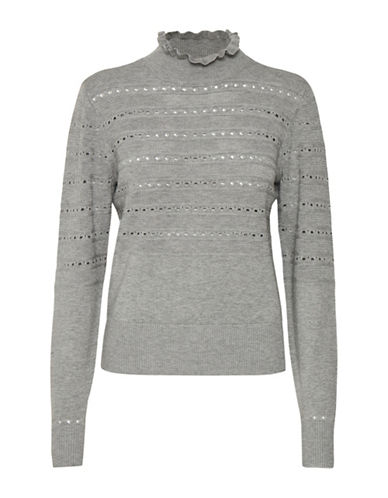 Cream Bernie Eyelet Pullover-GREY-X-Large