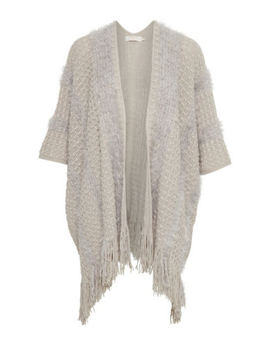 Cream Jade Open Front Poncho-GREY-One Size
