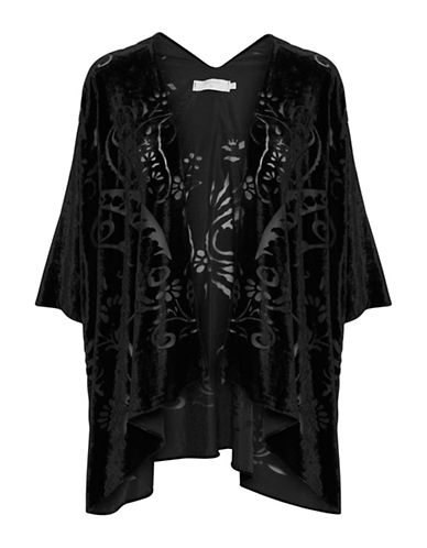 Cream Liv Open-Front Caftan-BLACK-One Size