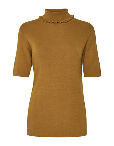 Karen By Simonsen Pave Roll Neck Top-GOLDEN BROWN-X-Small