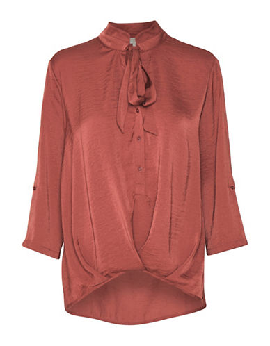 Cream Comma Hi-Lo Blouse-ORANGE-40
