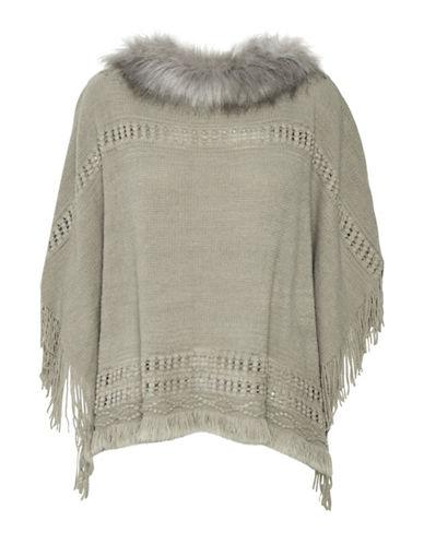 Cream Faux Fur Knit Poncho-GREY-One Size
