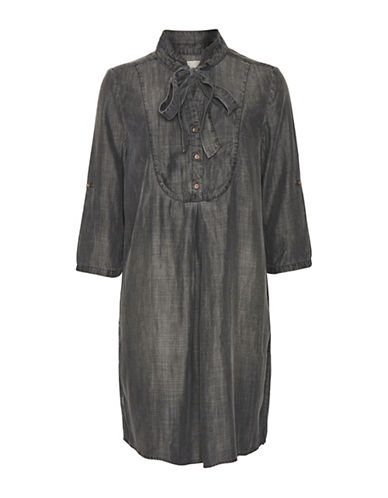 Cream Luna Denim Shirt Dress-GREY-38