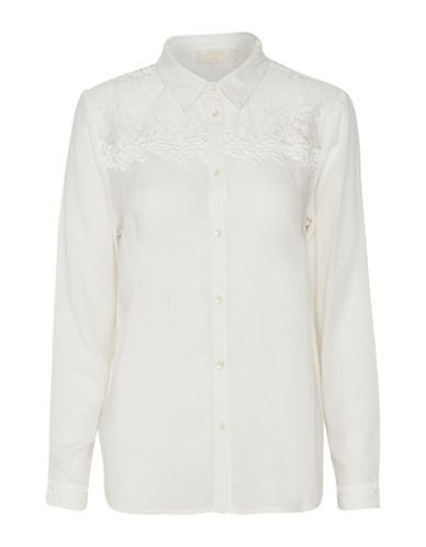 Cream Ella Button-Front Blouse-NATURAL-40