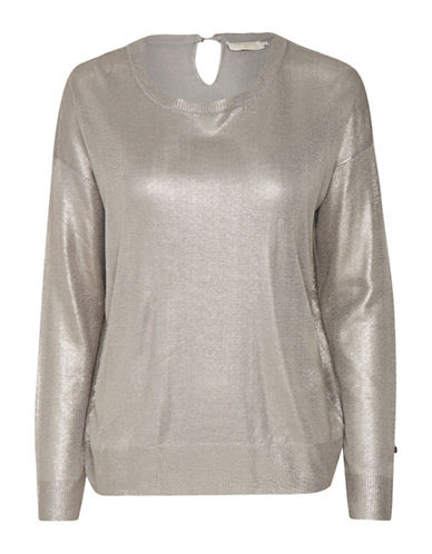 Cream Serena Dropped Shoulder Pullover-GREY-Large