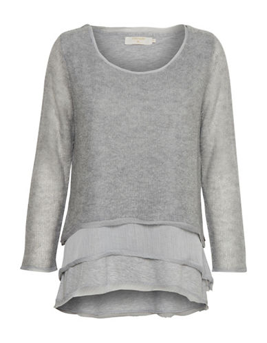 Cream Luise Tiered Pullover-GREY-X-Small