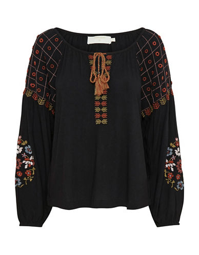 Cream Lulu Embroidered Blouse-BLACK-38