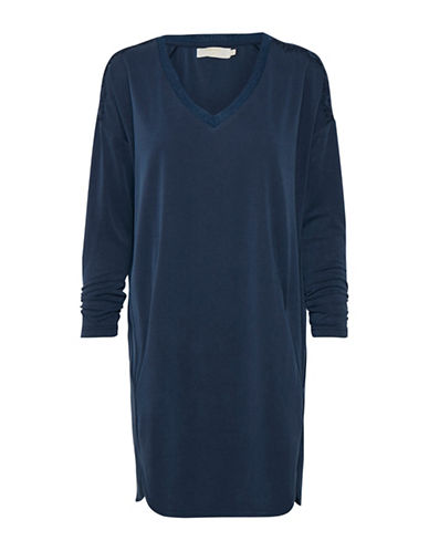Cream Silje V-Neck Tunic-BLUE-Large