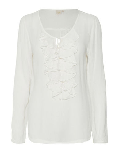 Cream Sibel Self-Tie Flounce Blouse-CHALK-34