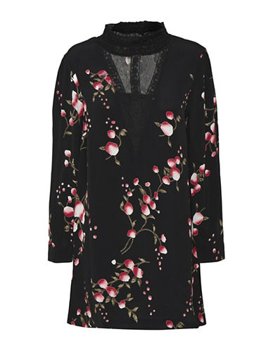 Cream Maggie Long-Sleeve Shift Dress-BLACK MULTI-40